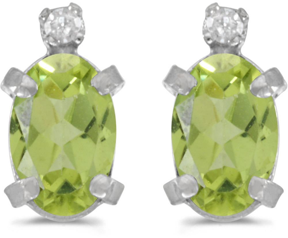 14k White Gold Oval Peridot And Diamond Earrings (CM-E2209XW-08)
