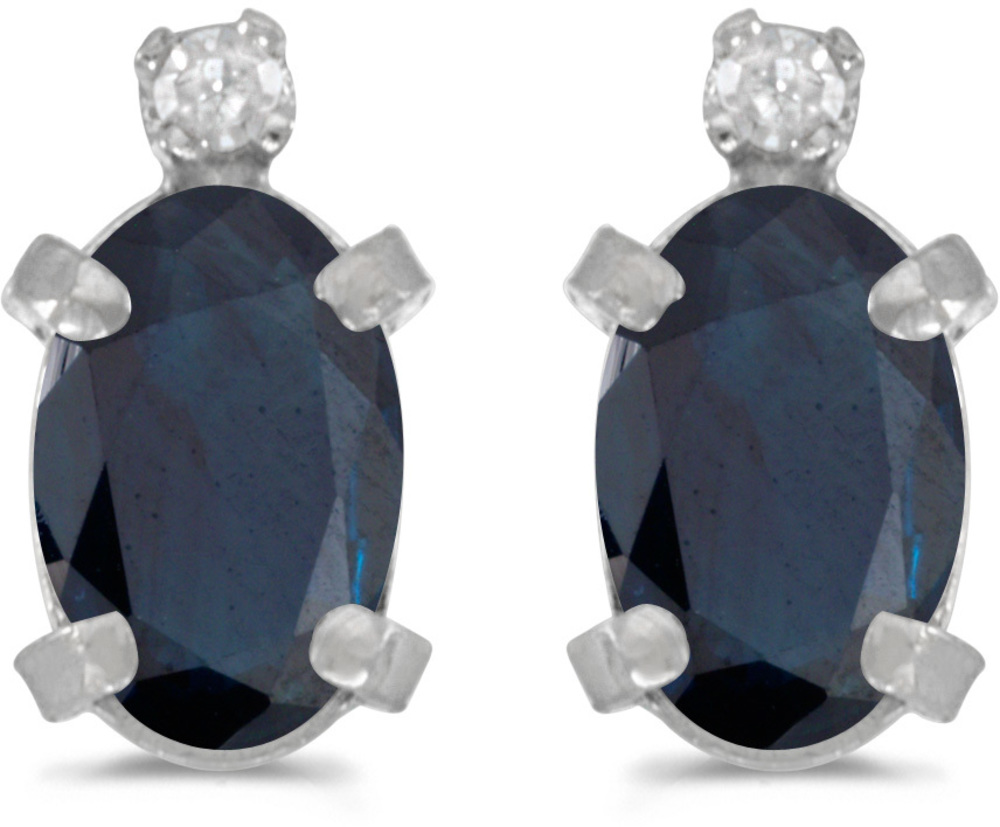 14k White Gold Oval Sapphire And Diamond Earrings (CM-E2209XW-09)