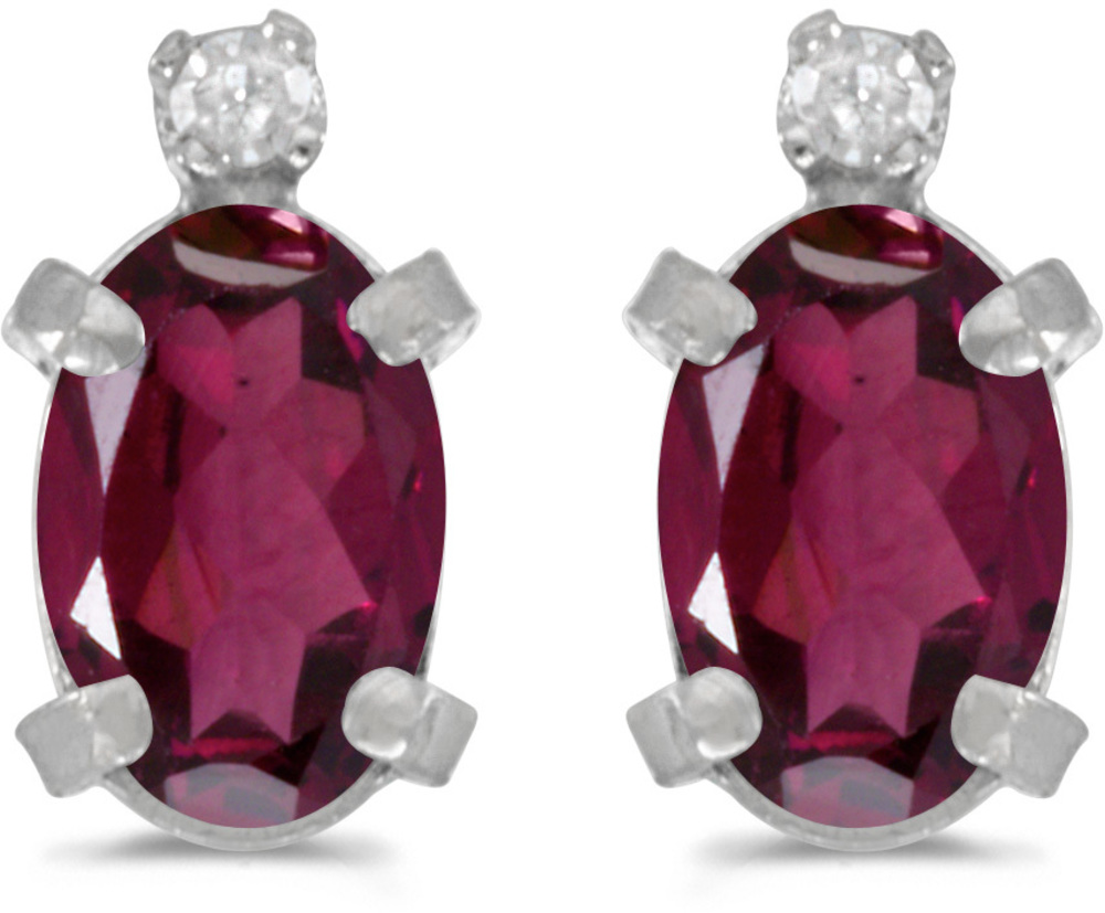 14k White Gold Oval Rhodolite Garnet And Diamond Earrings (CM-E2209XW-RG)