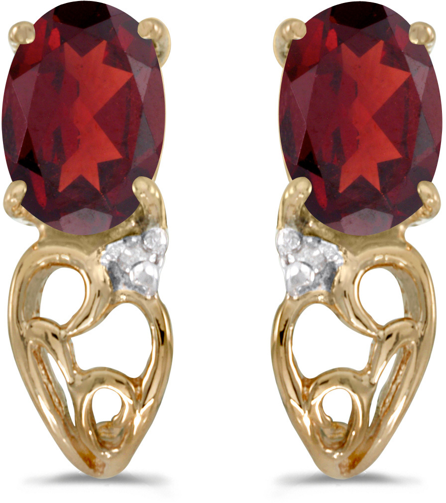 14k Yellow Gold Oval Garnet And Diamond Earrings (CM-E2582X-01)