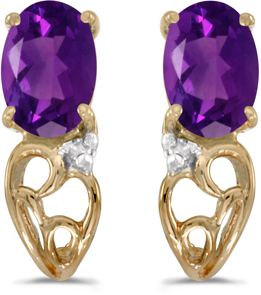 14k Yellow Gold Oval Amethyst And Diamond Earrings (CM-E2582X-02)