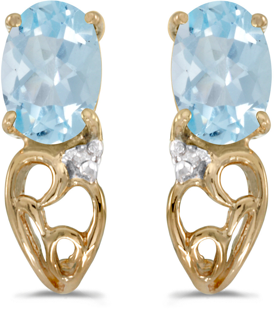 14k Yellow Gold Oval Aquamarine And Diamond Earrings (CM-E2582X-03)