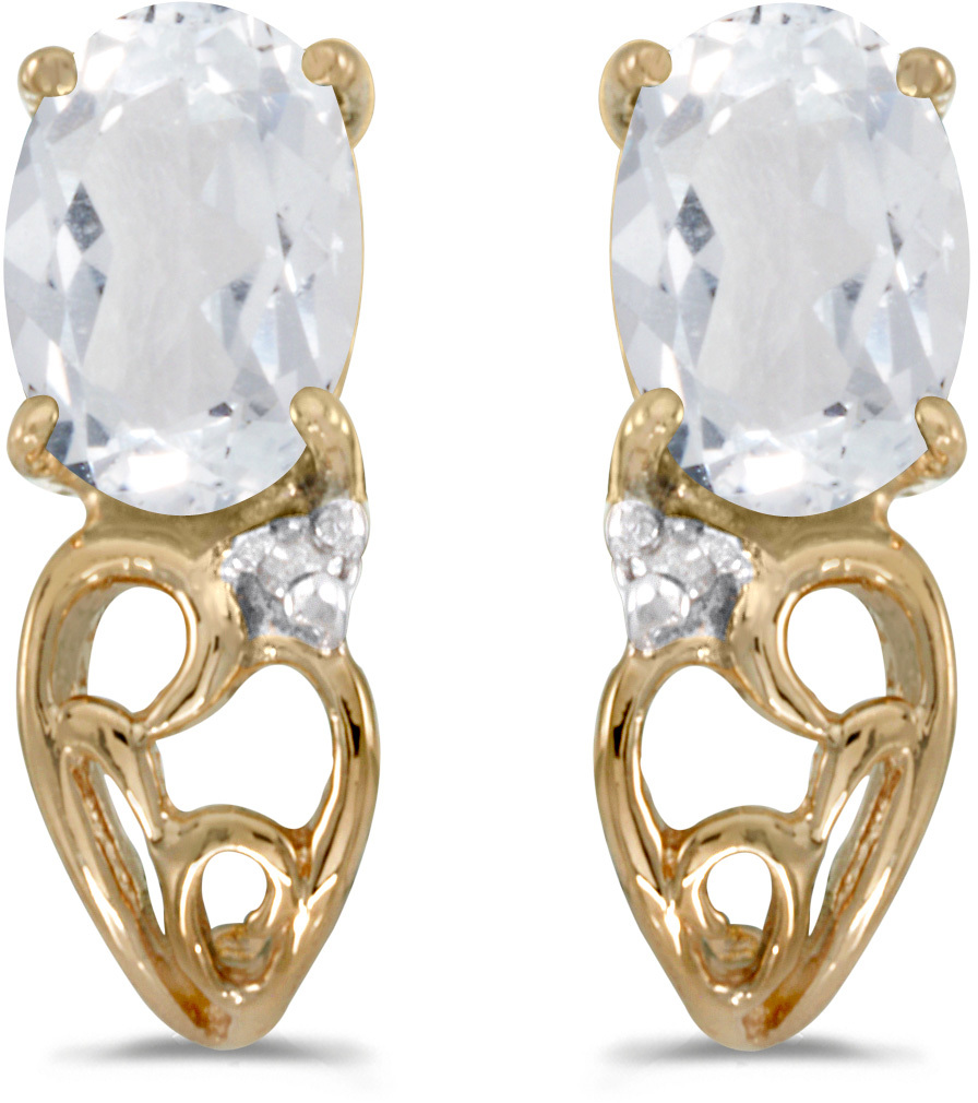 14k Yellow Gold Oval White Topaz And Diamond Earrings (CM-E2582X-04)