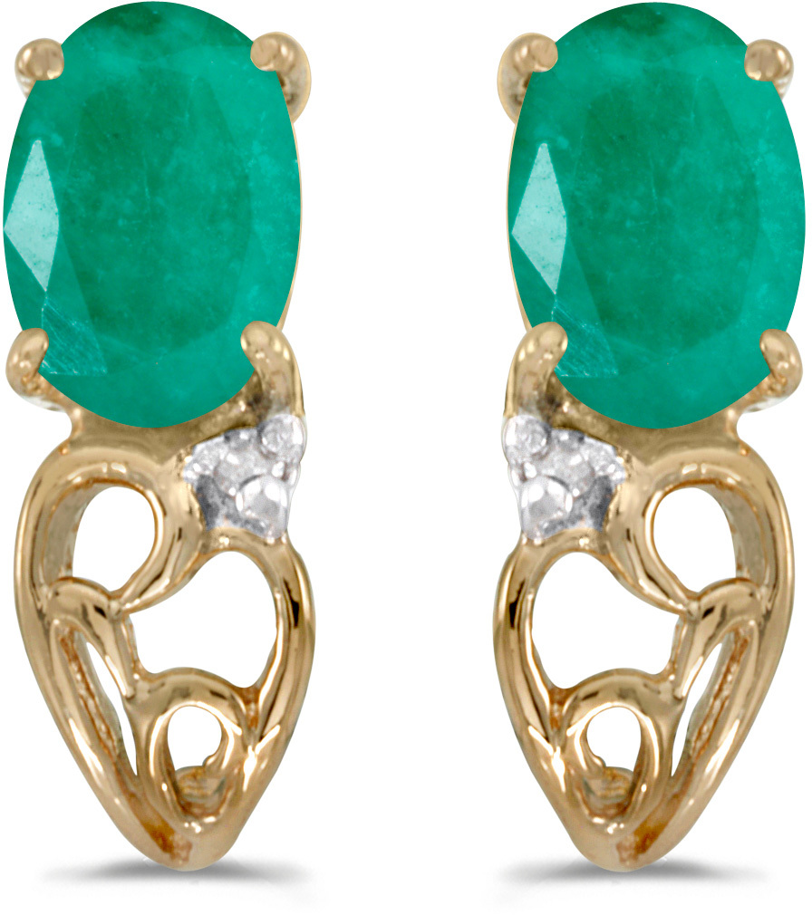 14k Yellow Gold Oval Emerald And Diamond Earrings (CM-E2582X-05)
