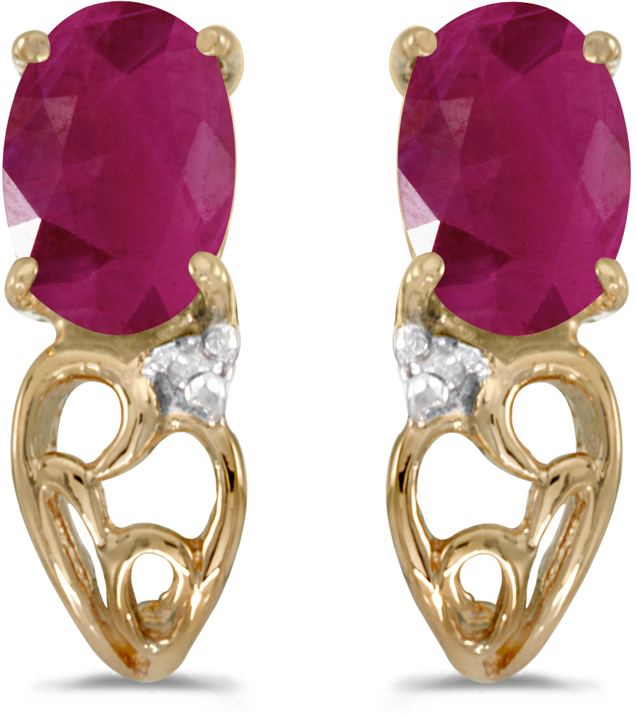 14k Yellow Gold Oval Ruby And Diamond Earrings (CM-E2582X-07)