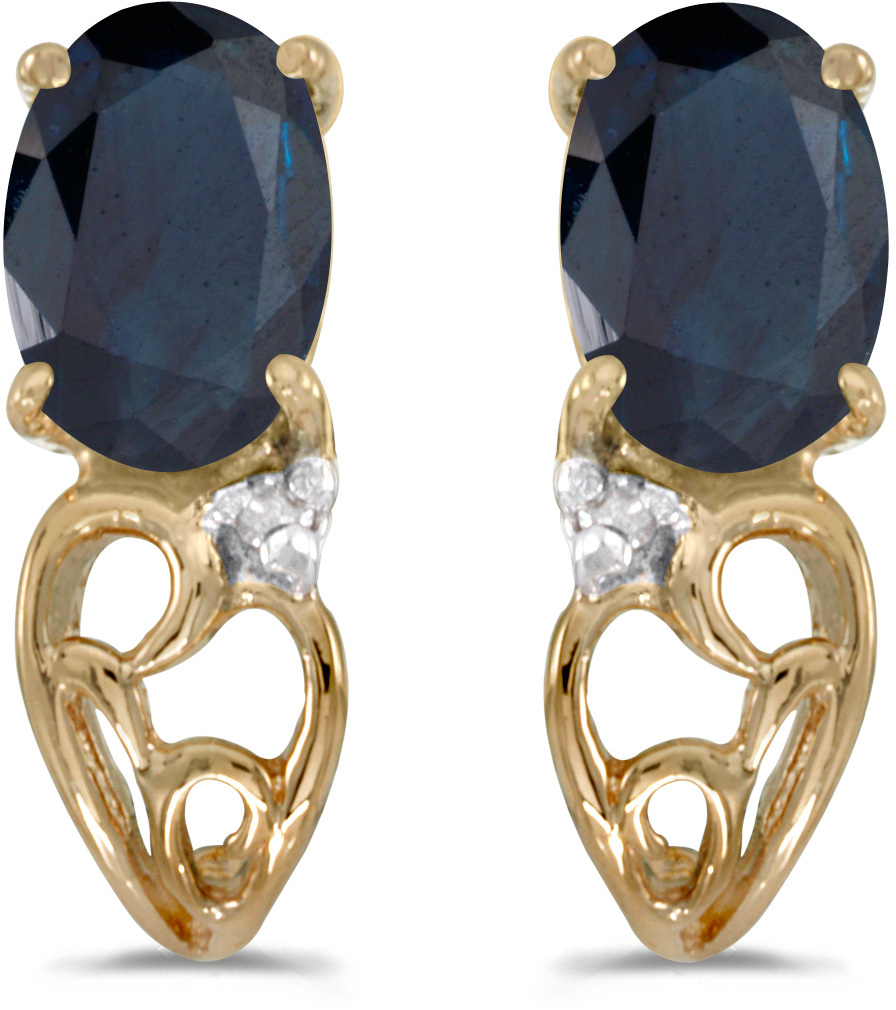 14k Yellow Gold Oval Sapphire And Diamond Earrings (CM-E2582X-09)