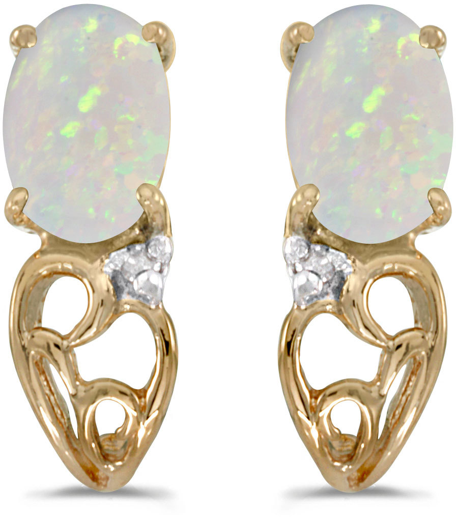 14k Yellow Gold Oval Opal And Diamond Earrings (CM-E2582X-10)