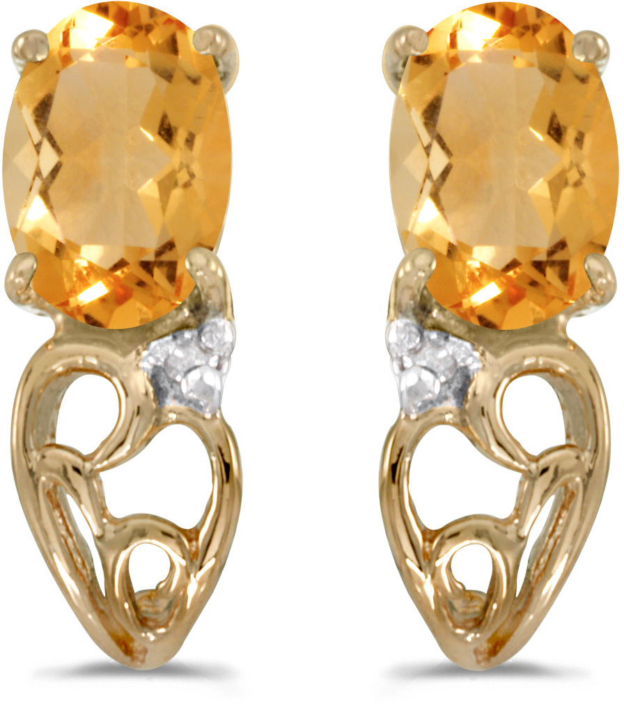 14k Yellow Gold Oval Citrine And Diamond Earrings (CM-E2582X-11)