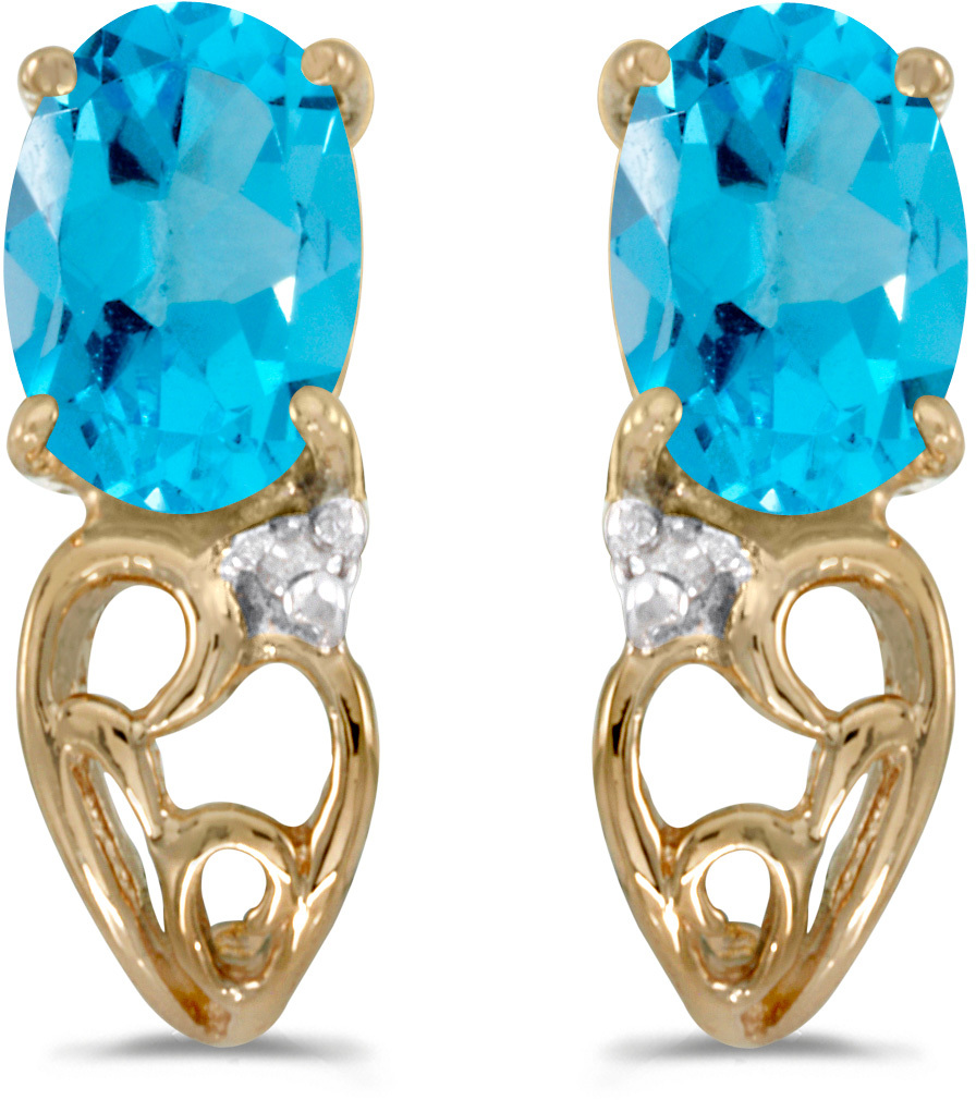 14k Yellow Gold Oval Blue Topaz And Diamond Earrings (CM-E2582X-12)