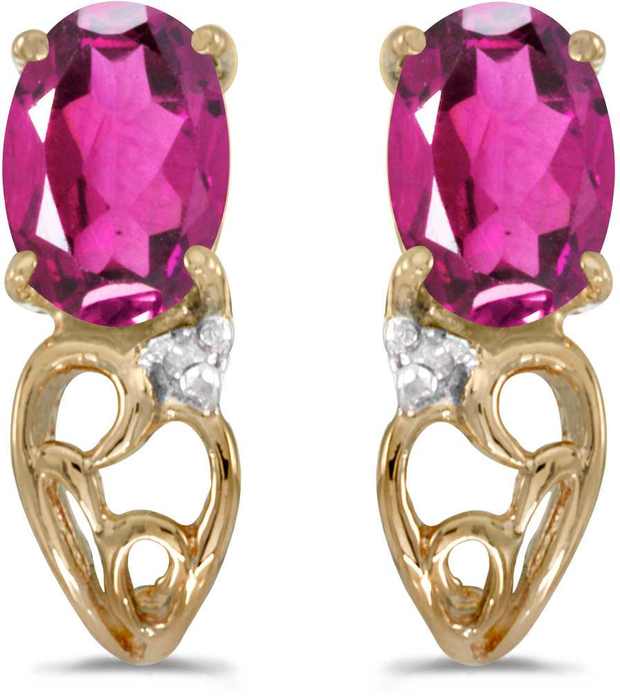 14k Yellow Gold Oval Pink Topaz And Diamond Earrings (CM-E2582X-PT)