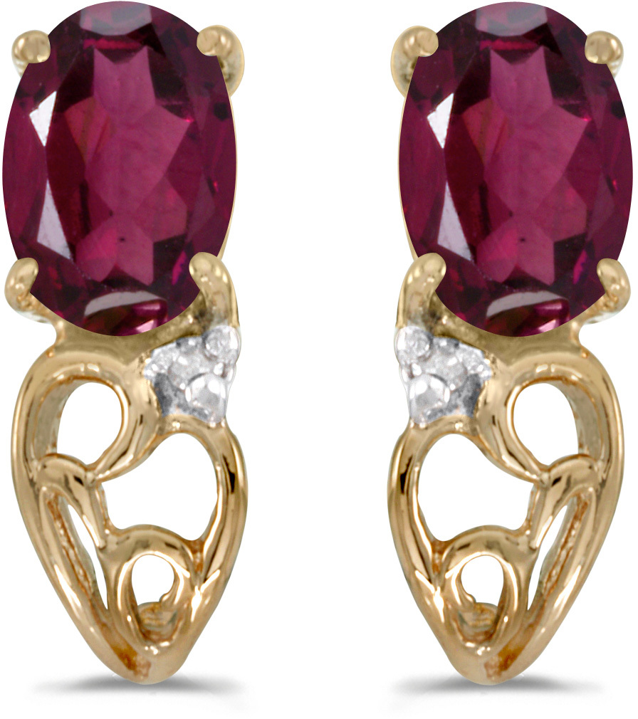 14k Yellow Gold Oval Rhodolite Garnet And Diamond Earrings (CM-E2582X-RG)