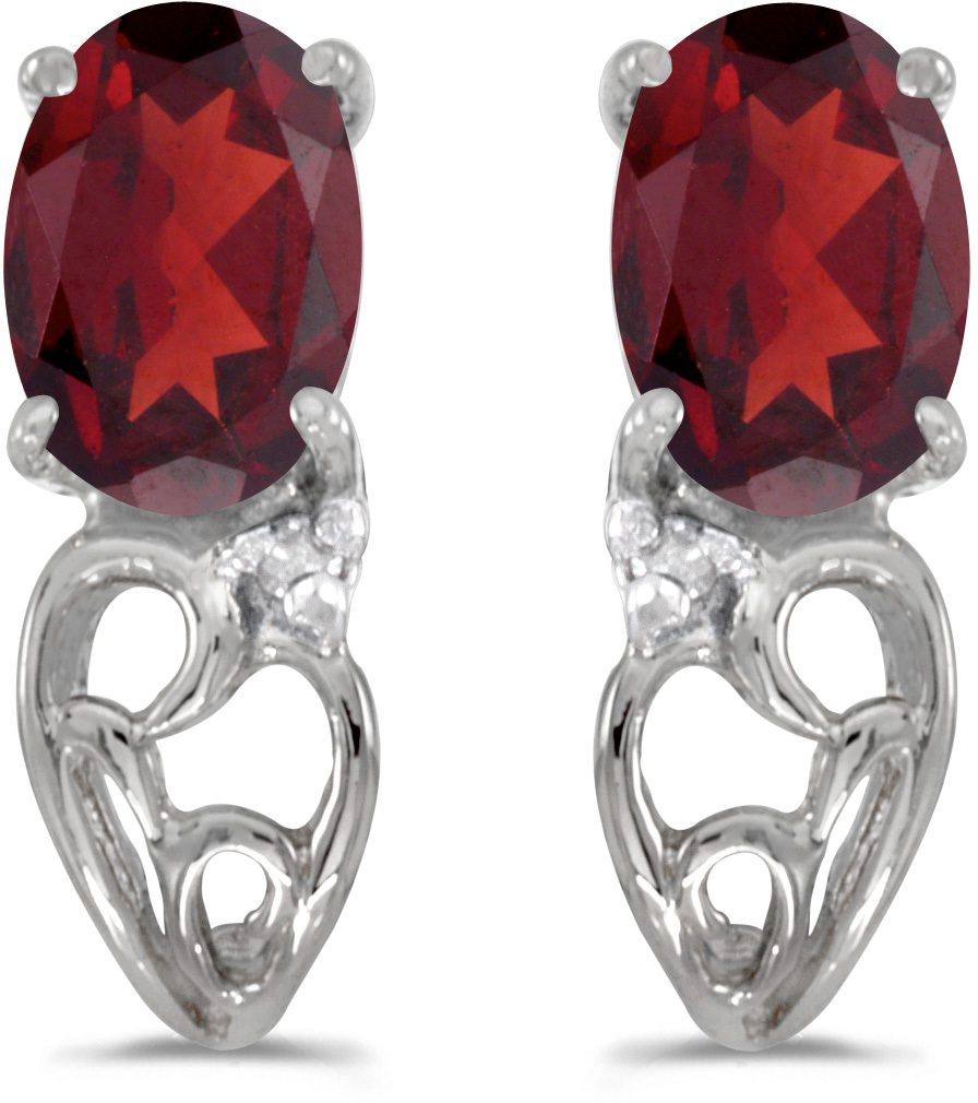 14k White Gold Oval Garnet And Diamond Earrings (CM-E2582XW-01)