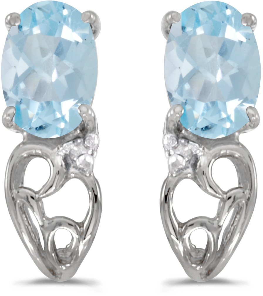 14k White Gold Oval Aquamarine And Diamond Earrings (CM-E2582XW-03)