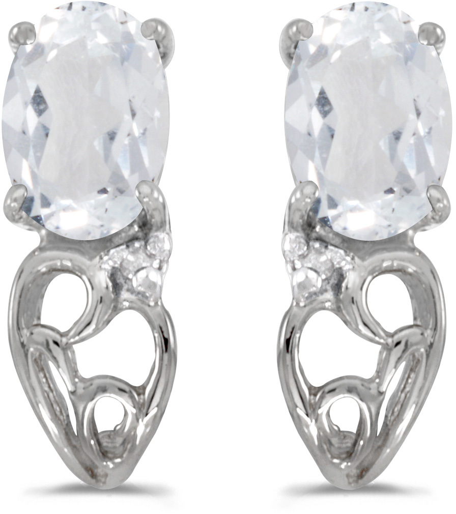 14k White Gold Oval White Topaz And Diamond Earrings (CM-E2582XW-04)