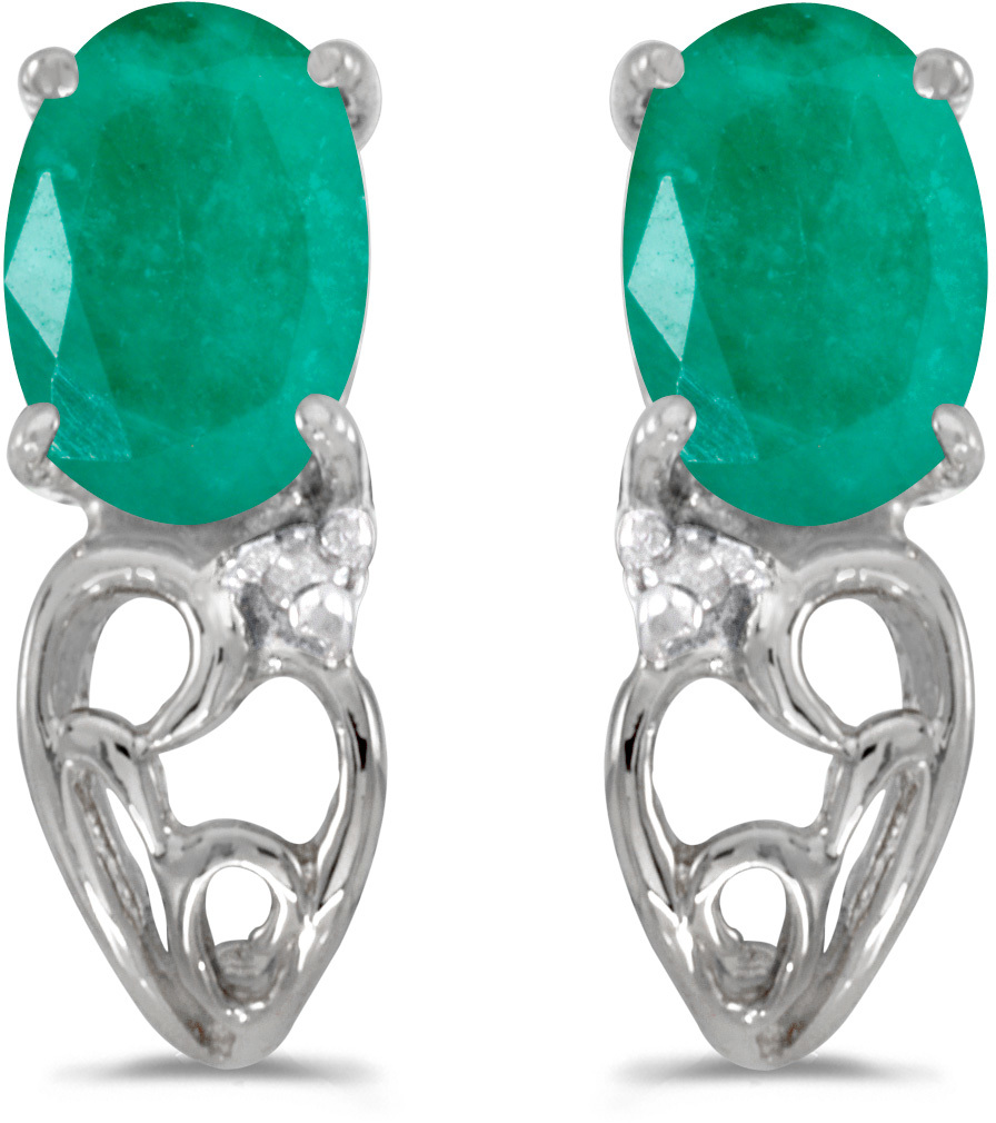 14k White Gold Oval Emerald And Diamond Earrings (CM-E2582XW-05)