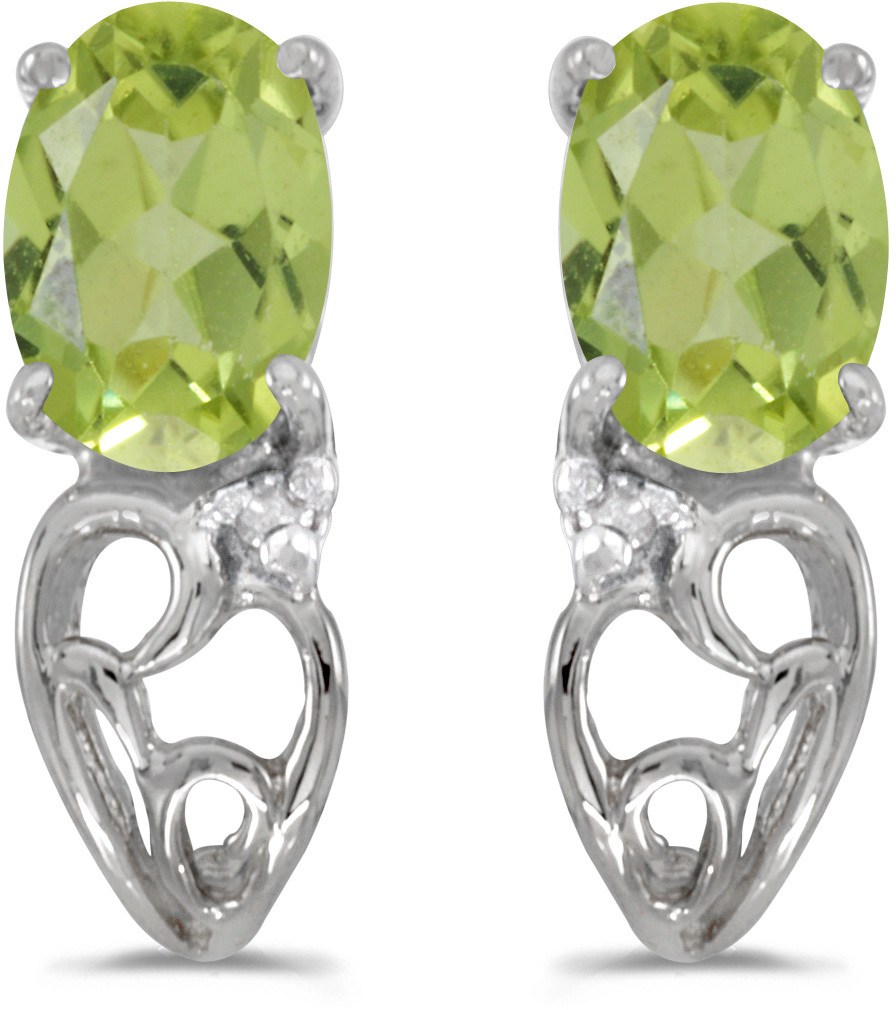 14k White Gold Oval Peridot And Diamond Earrings (CM-E2582XW-08)