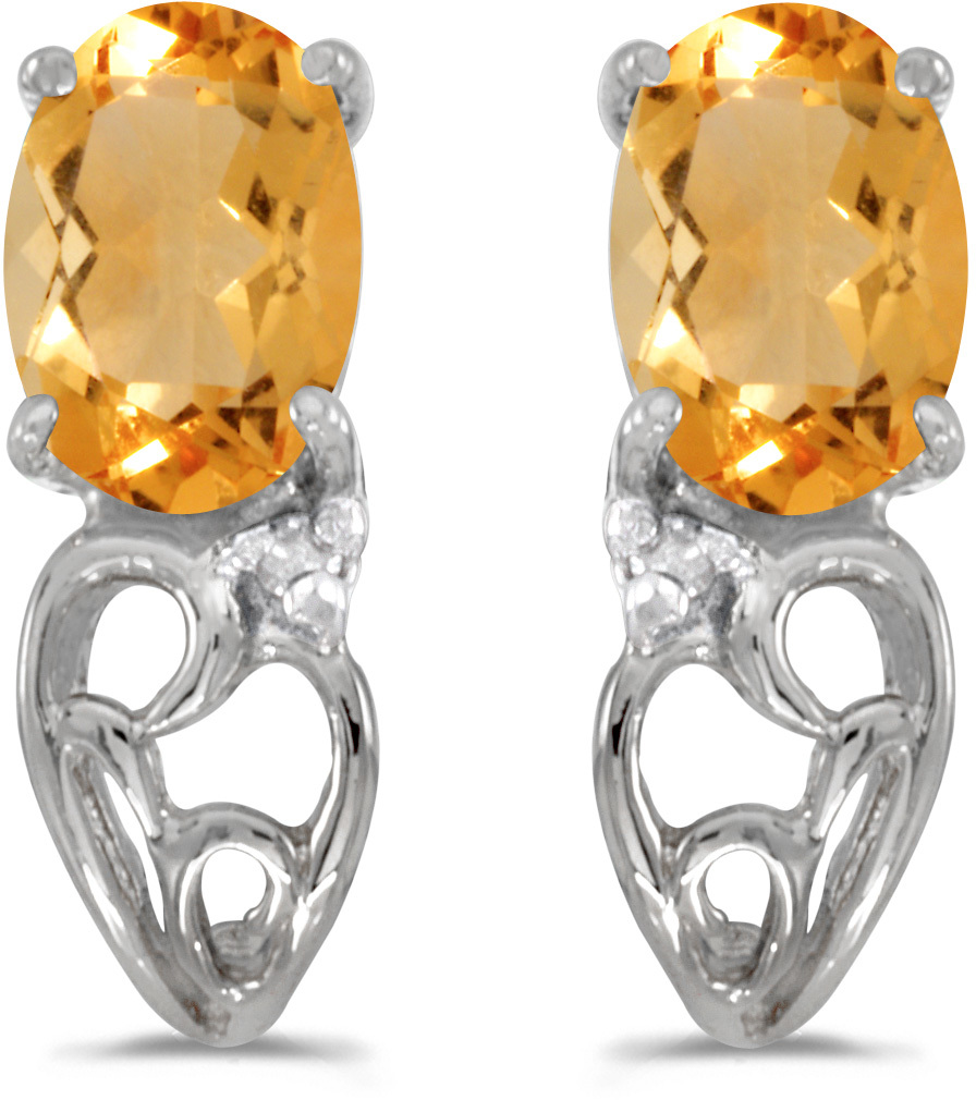 14k White Gold Oval Citrine And Diamond Earrings (CM-E2582XW-11)