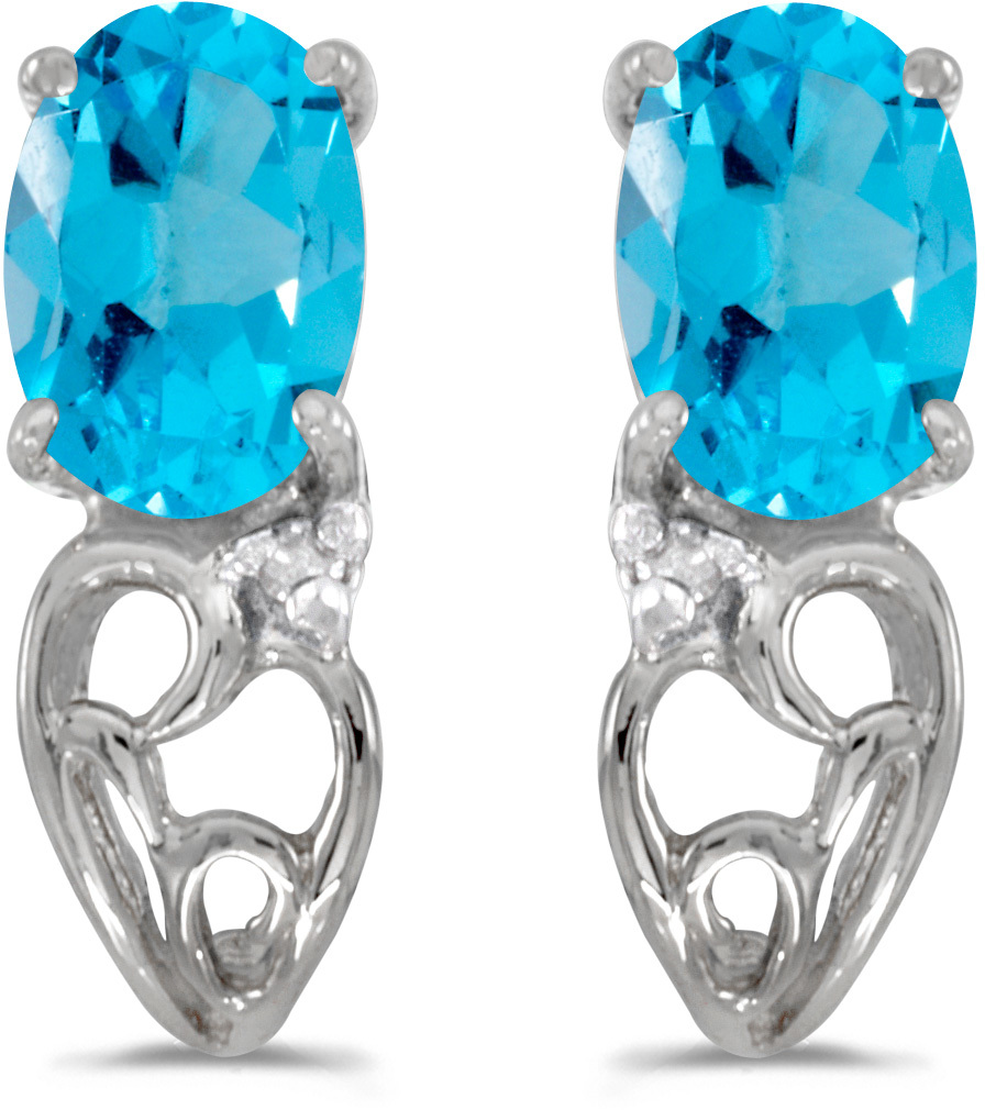 14k White Gold Oval Blue Topaz And Diamond Earrings (CM-E2582XW-12)