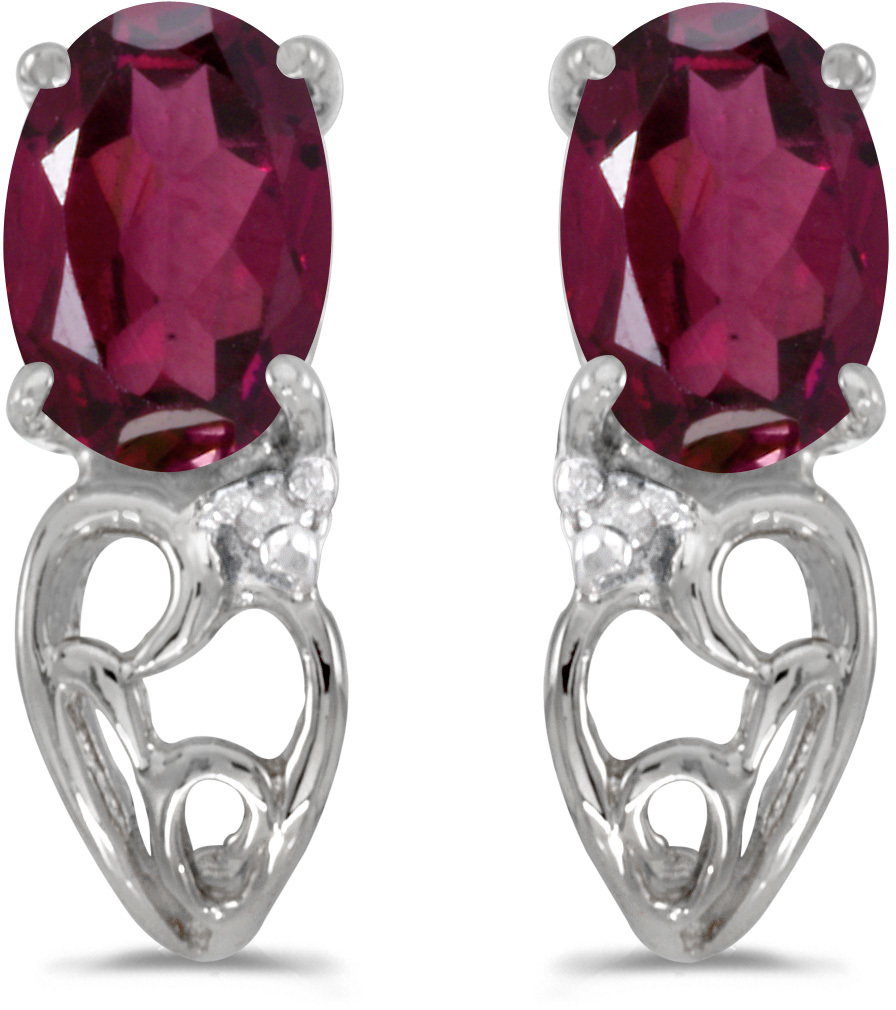 14k White Gold Oval Rhodolite Garnet And Diamond Earrings (CM-E2582XW-RG)