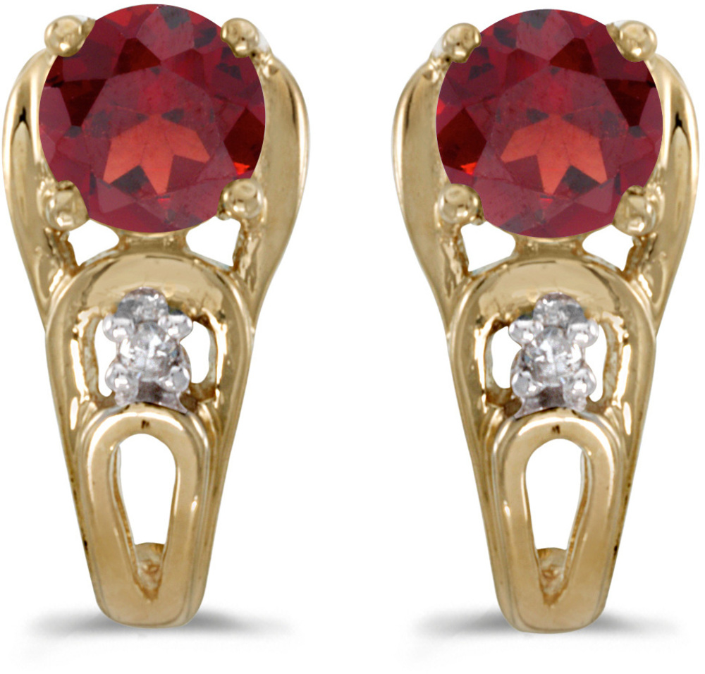 14k Yellow Gold Round Garnet And Diamond Earrings (CM-E2583X-01)
