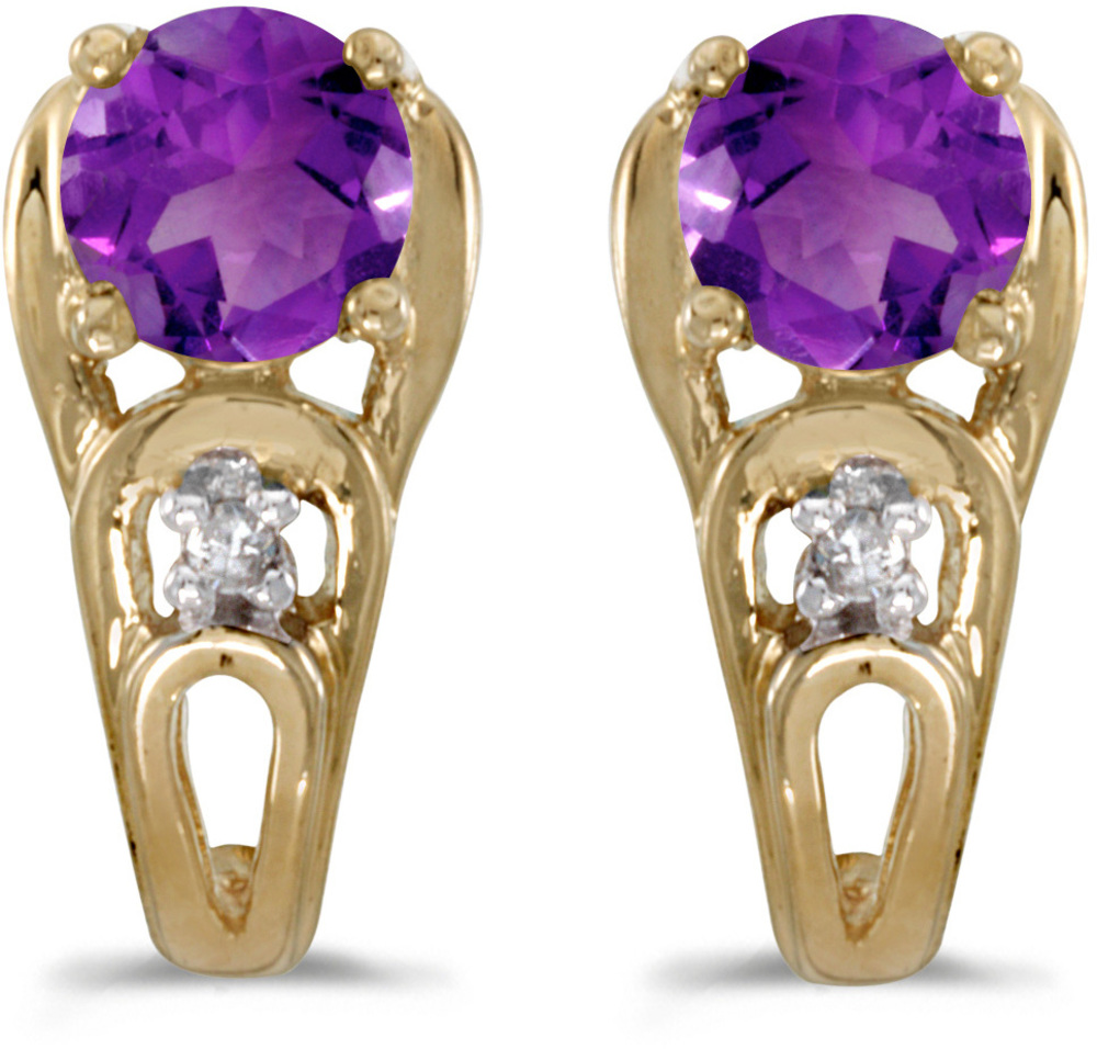 14k Yellow Gold Round Amethyst And Diamond Earrings (CM-E2583X-02)