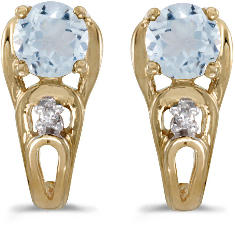 14k Yellow Gold Round Aquamarine And Diamond Earrings (CM-E2583X-03)