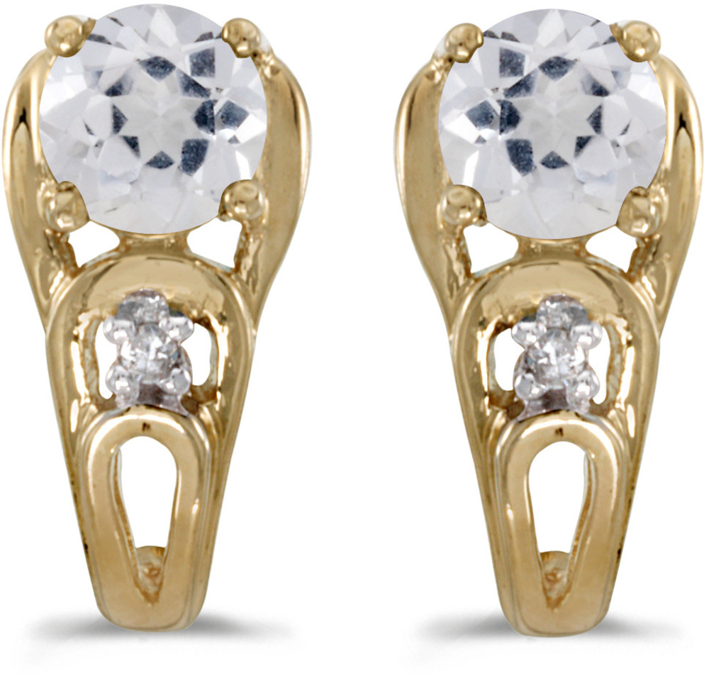 14k Yellow Gold Round White Topaz And Diamond Earrings (CM-E2583X-04)