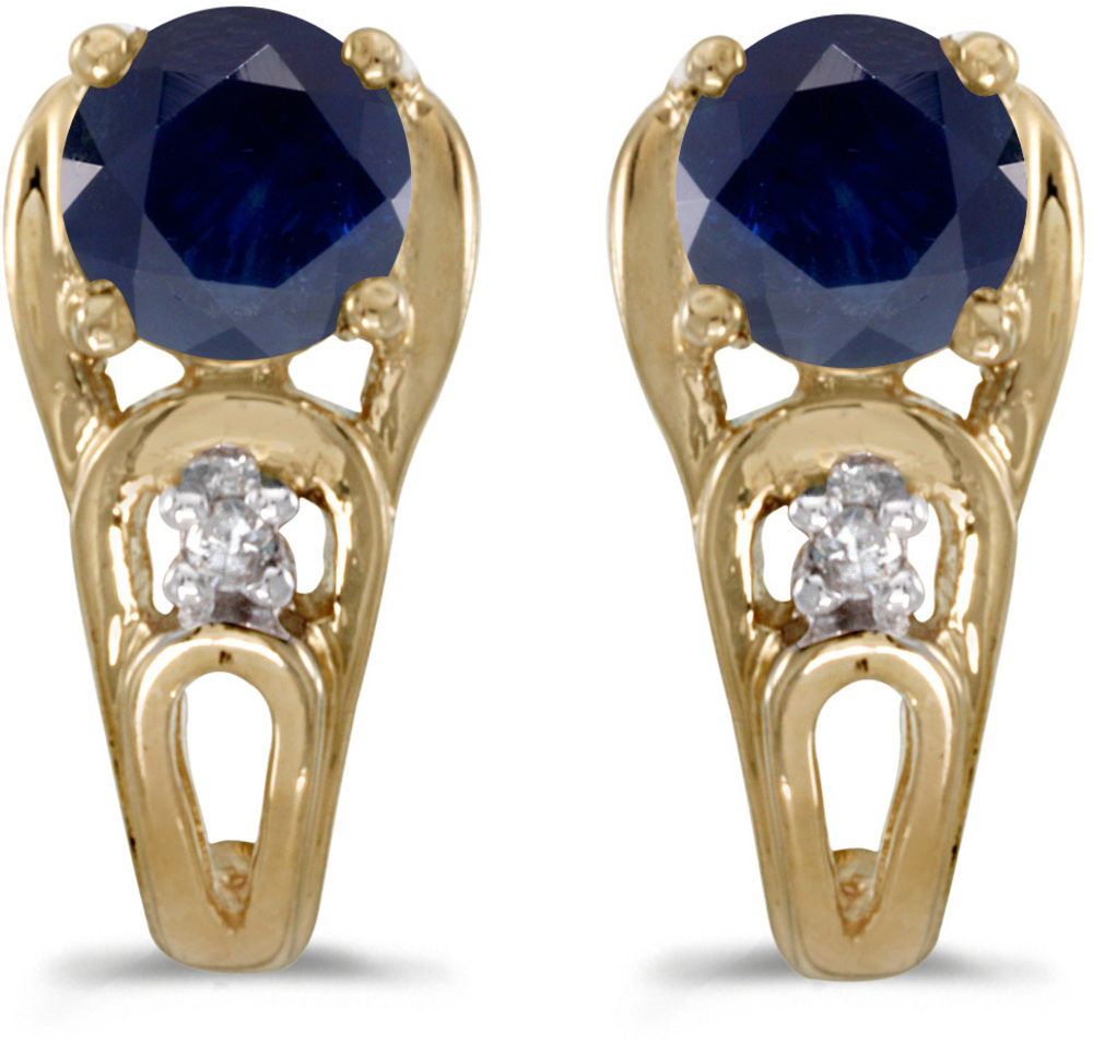 14k Yellow Gold Round Sapphire And Diamond Earrings (CM-E2583X-09)