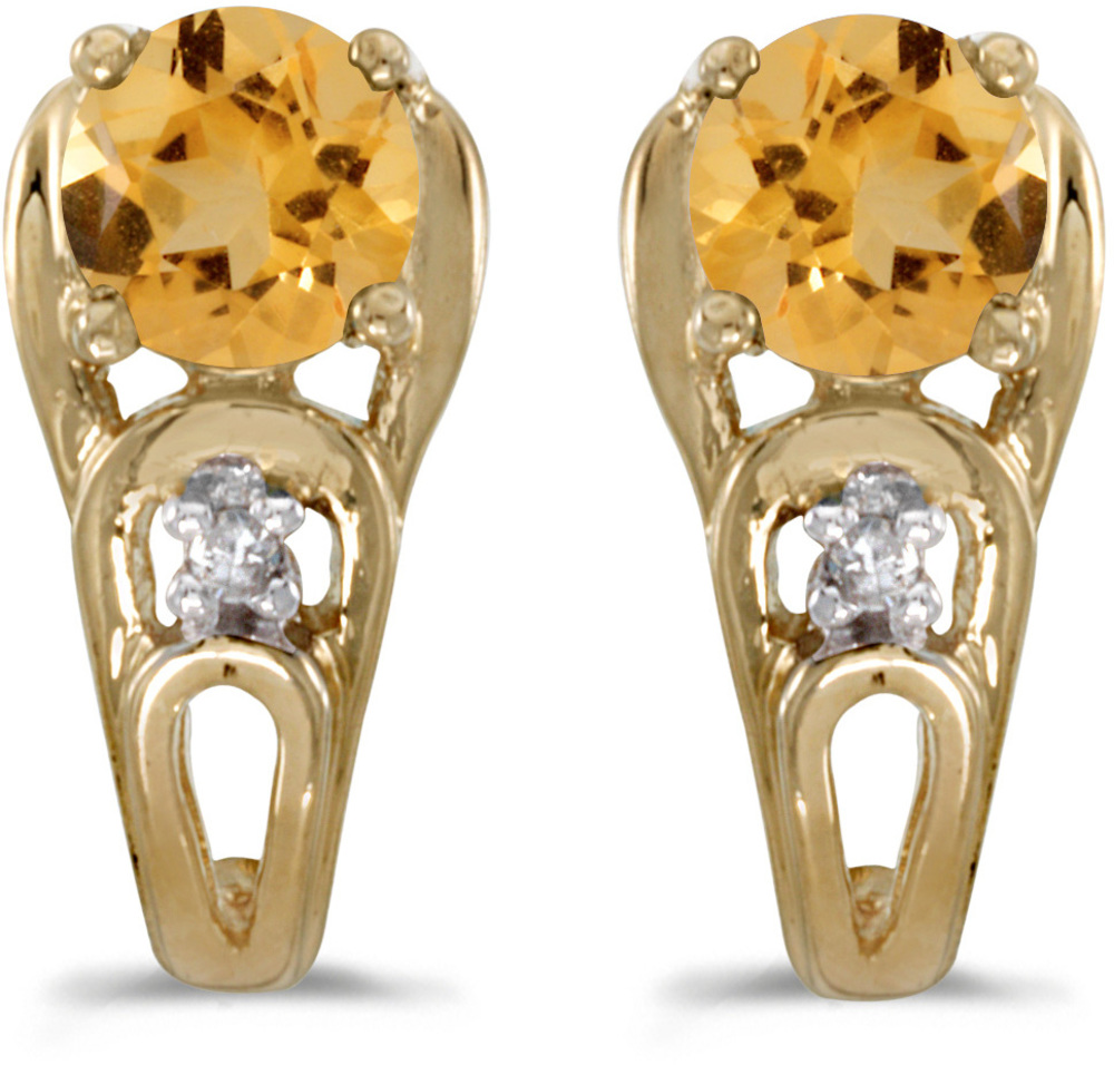 14k Yellow Gold Round Citrine And Diamond Earrings (CM-E2583X-11)