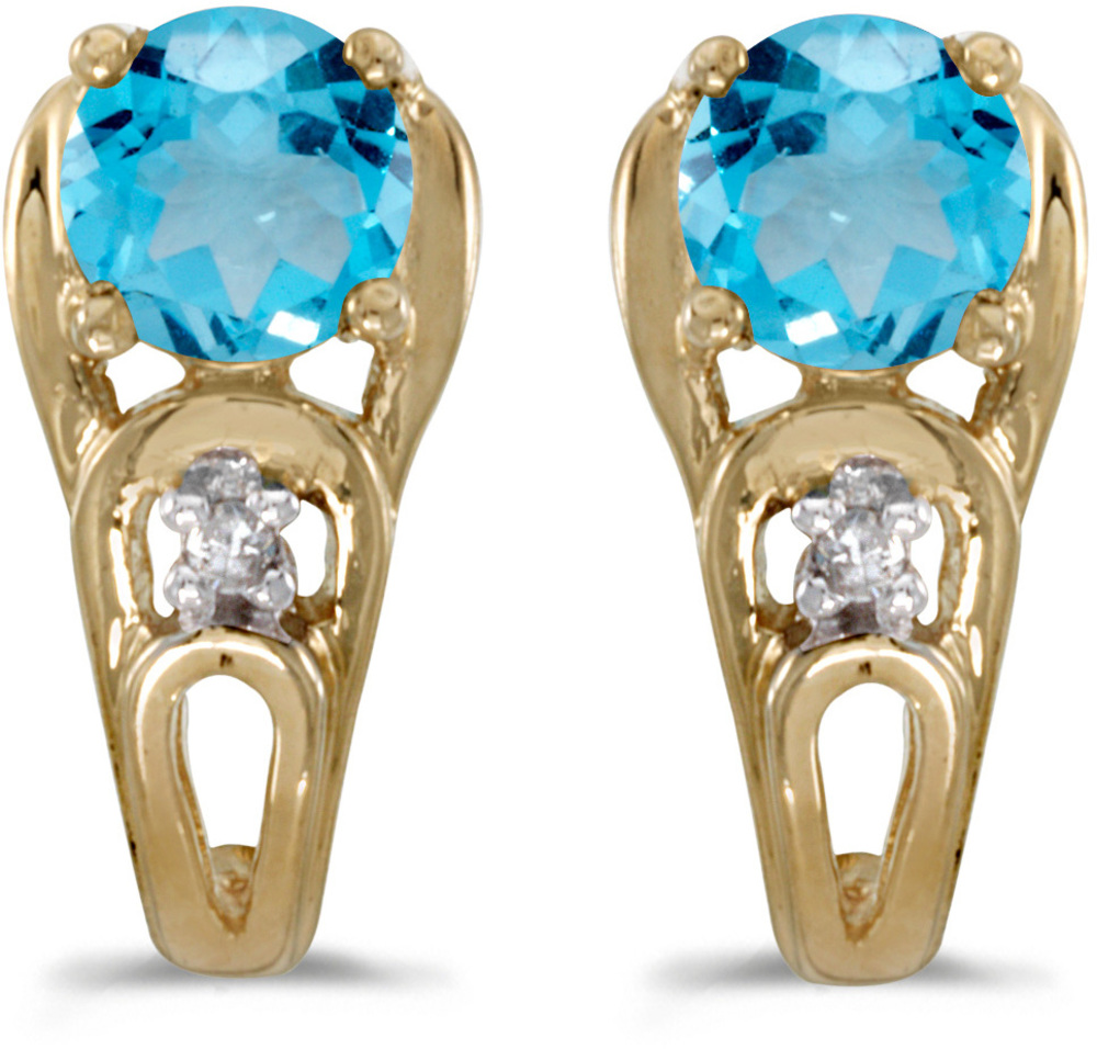 14k Yellow Gold Round Blue Topaz And Diamond Earrings (CM-E2583X-12)