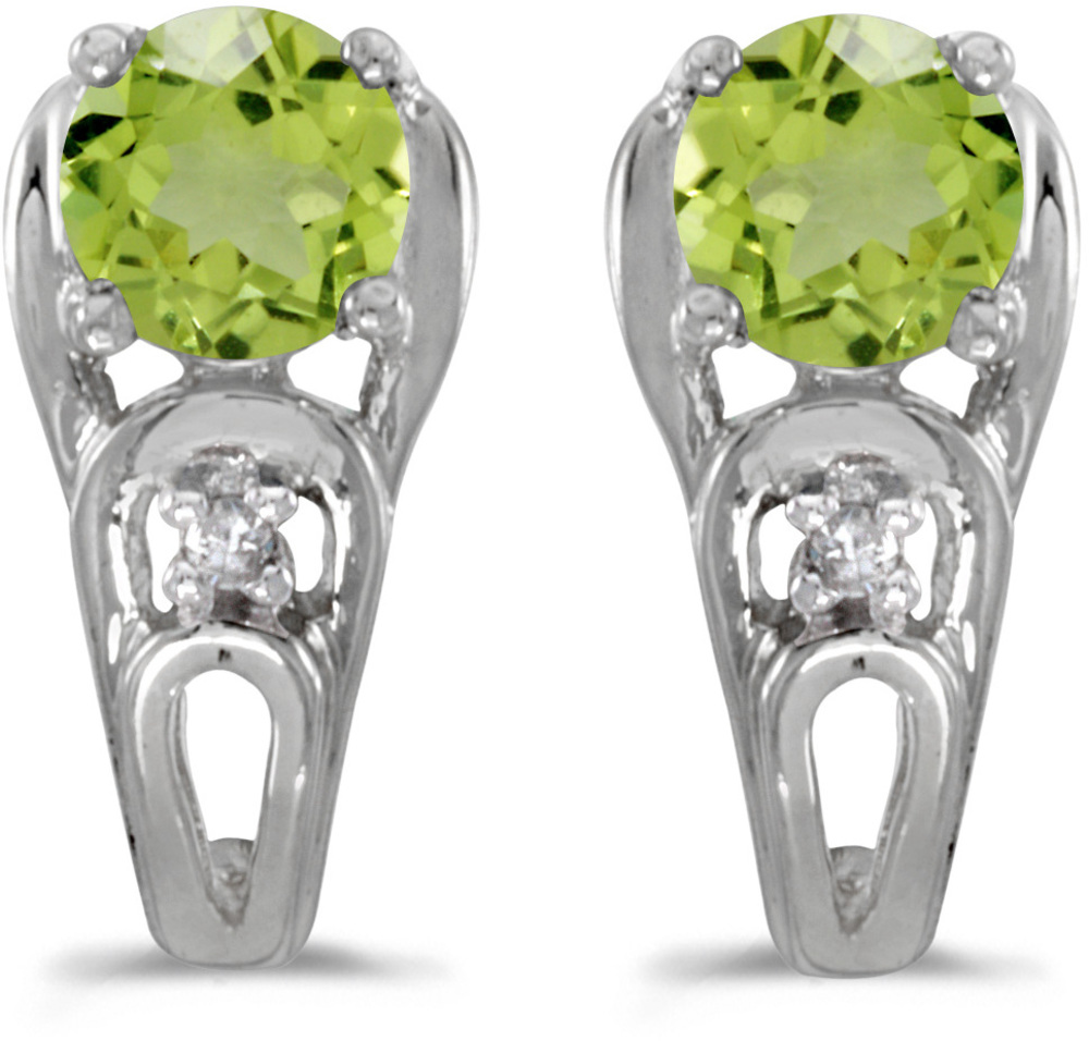 14k White Gold Round Peridot And Diamond Earrings (CM-E2583XW-08)