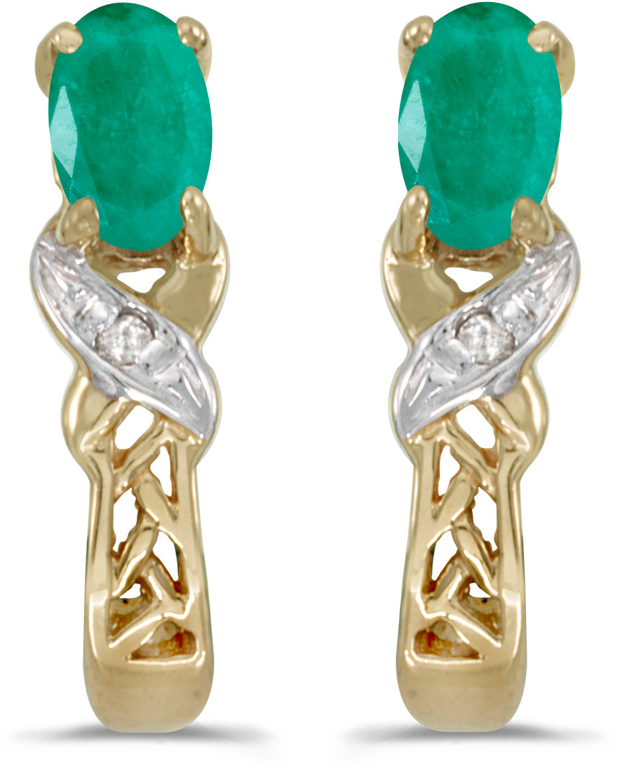 14k Yellow Gold Oval Emerald And Diamond Earrings (CM-E2584X-05)