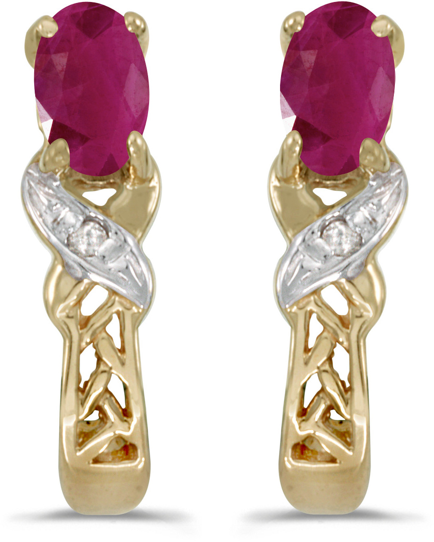 14k Yellow Gold Oval Ruby And Diamond Earrings (CM-E2584X-07)