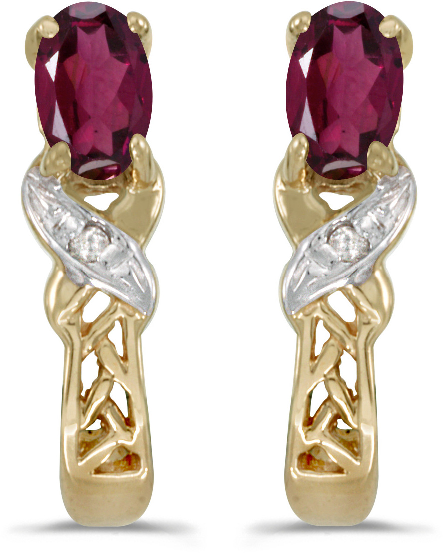 14k Yellow Gold Oval Rhodolite Garnet And Diamond Earrings (CM-E2584X-RG)