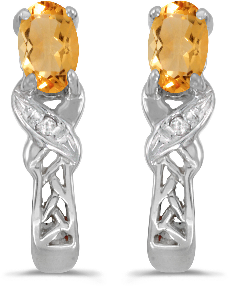 14k White Gold Oval Citrine And Diamond Earrings (CM-E2584XW-11)