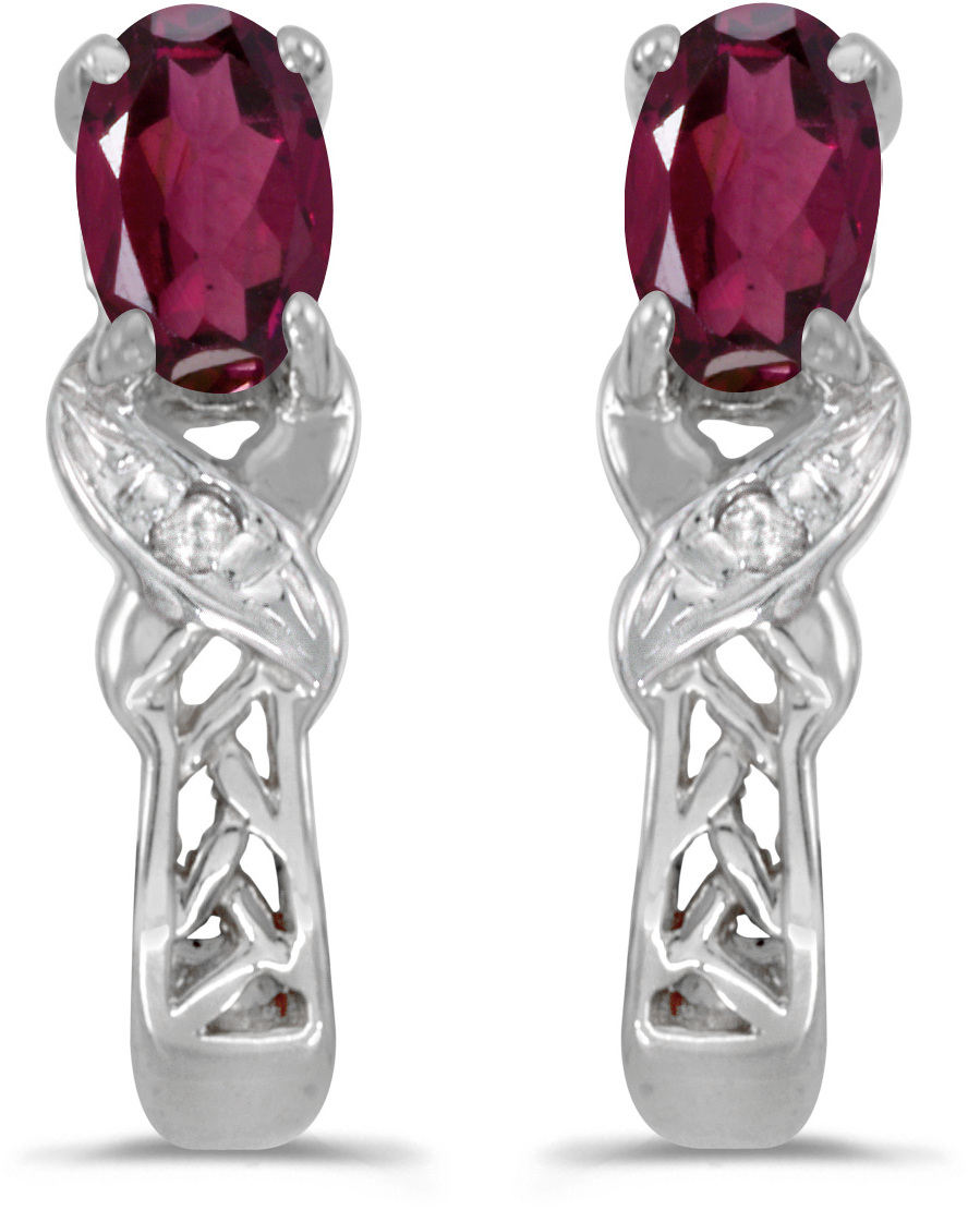 14k White Gold Oval Rhodolite Garnet And Diamond Earrings (CM-E2584XW-RG)