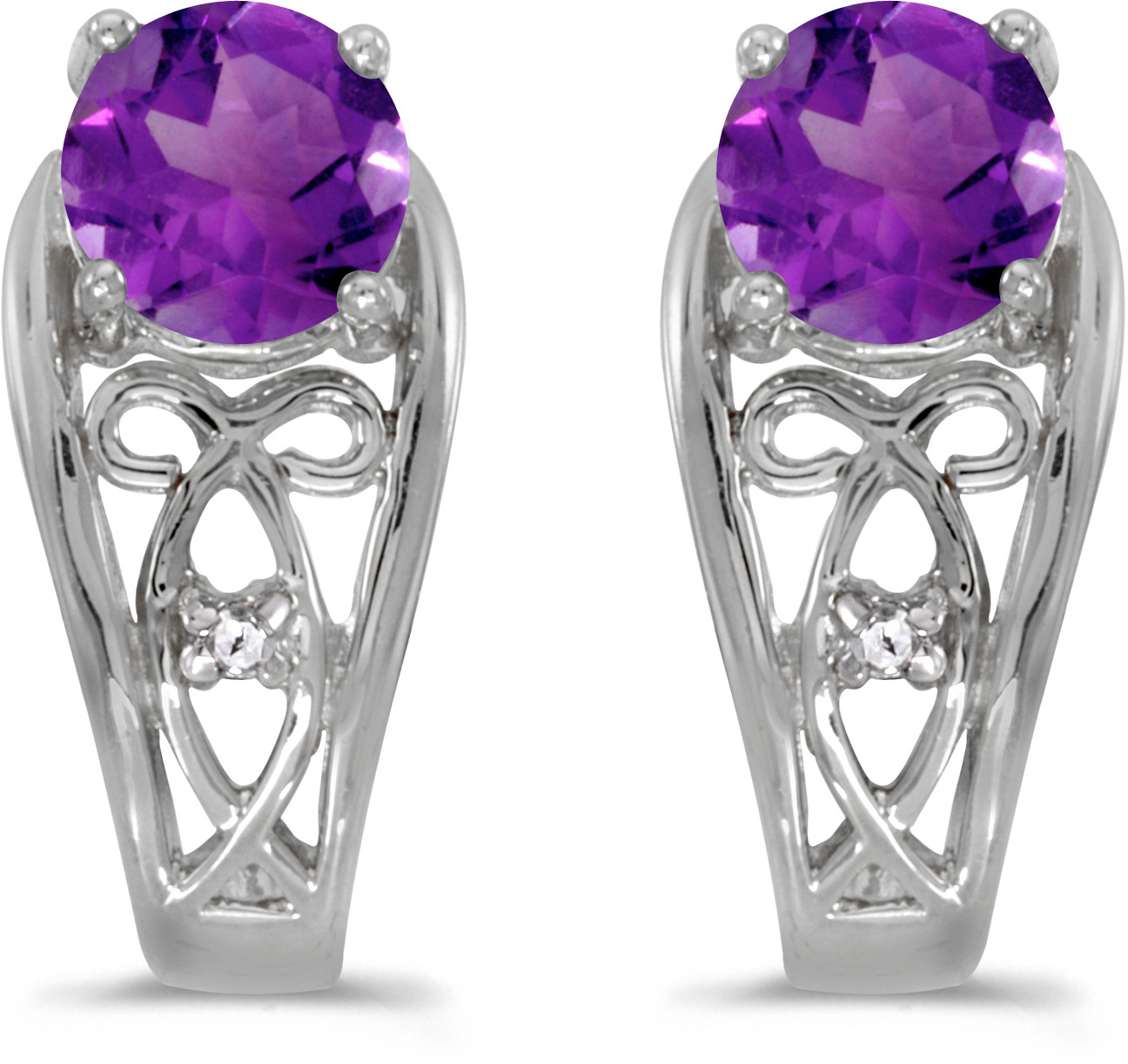 14k White Gold Round Amethyst And Diamond Earrings