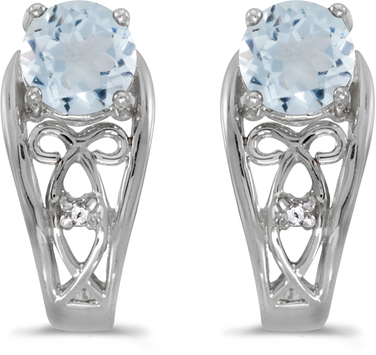 14k White Gold Round Aquamarine And Diamond Earrings