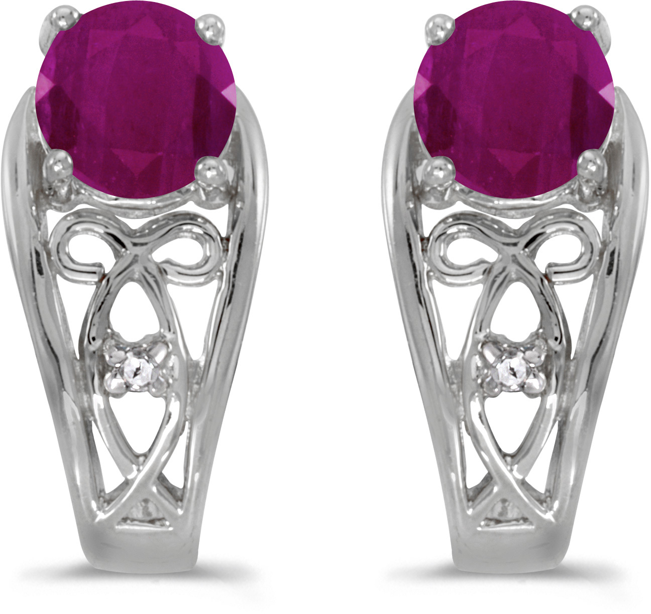 14k White Gold Round Ruby And Diamond Earrings