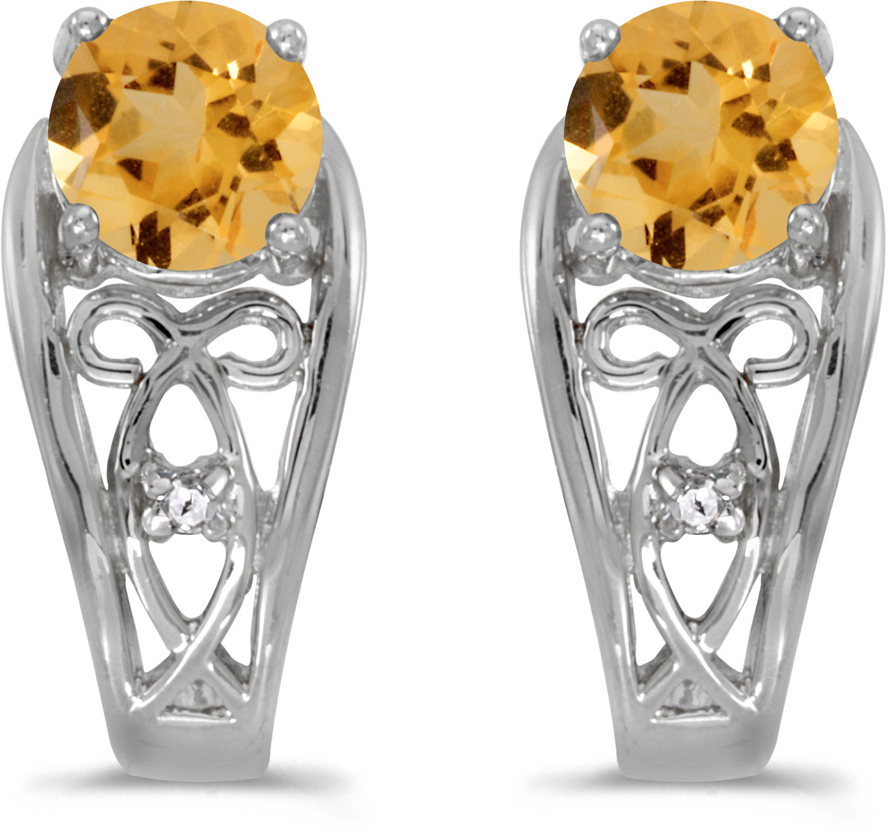 14k White Gold Round Citrine And Diamond Earrings