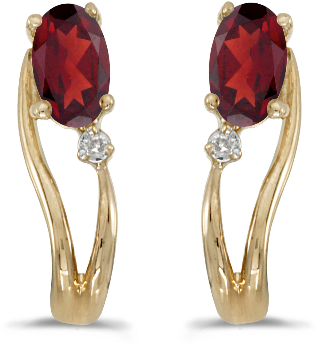 14k Yellow Gold Oval Garnet And Diamond Wave Earrings