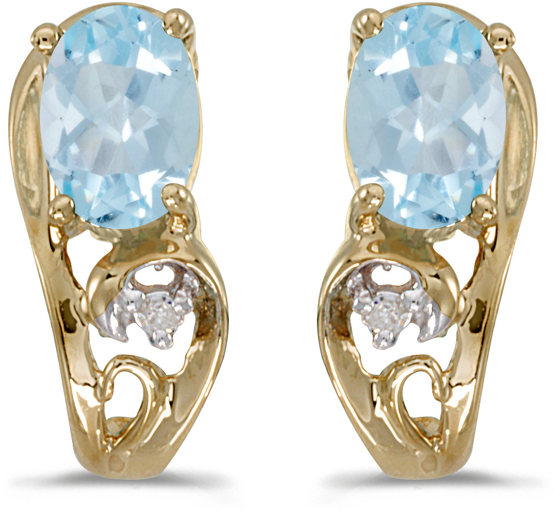 14k Yellow Gold Oval Aquamarine And Diamond Earrings (CM-E2590X-03)
