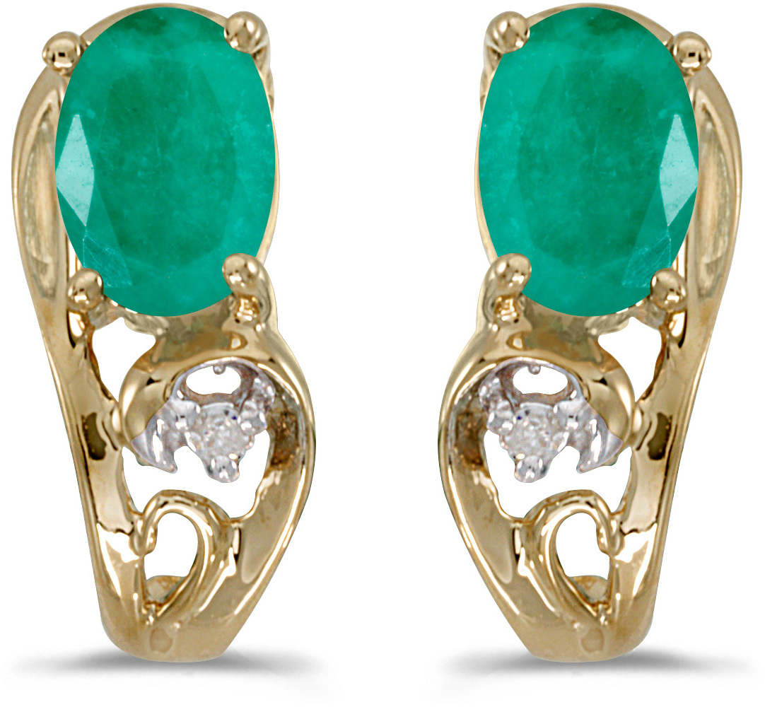 14k Yellow Gold Oval Emerald And Diamond Earrings (CM-E2590X-05)