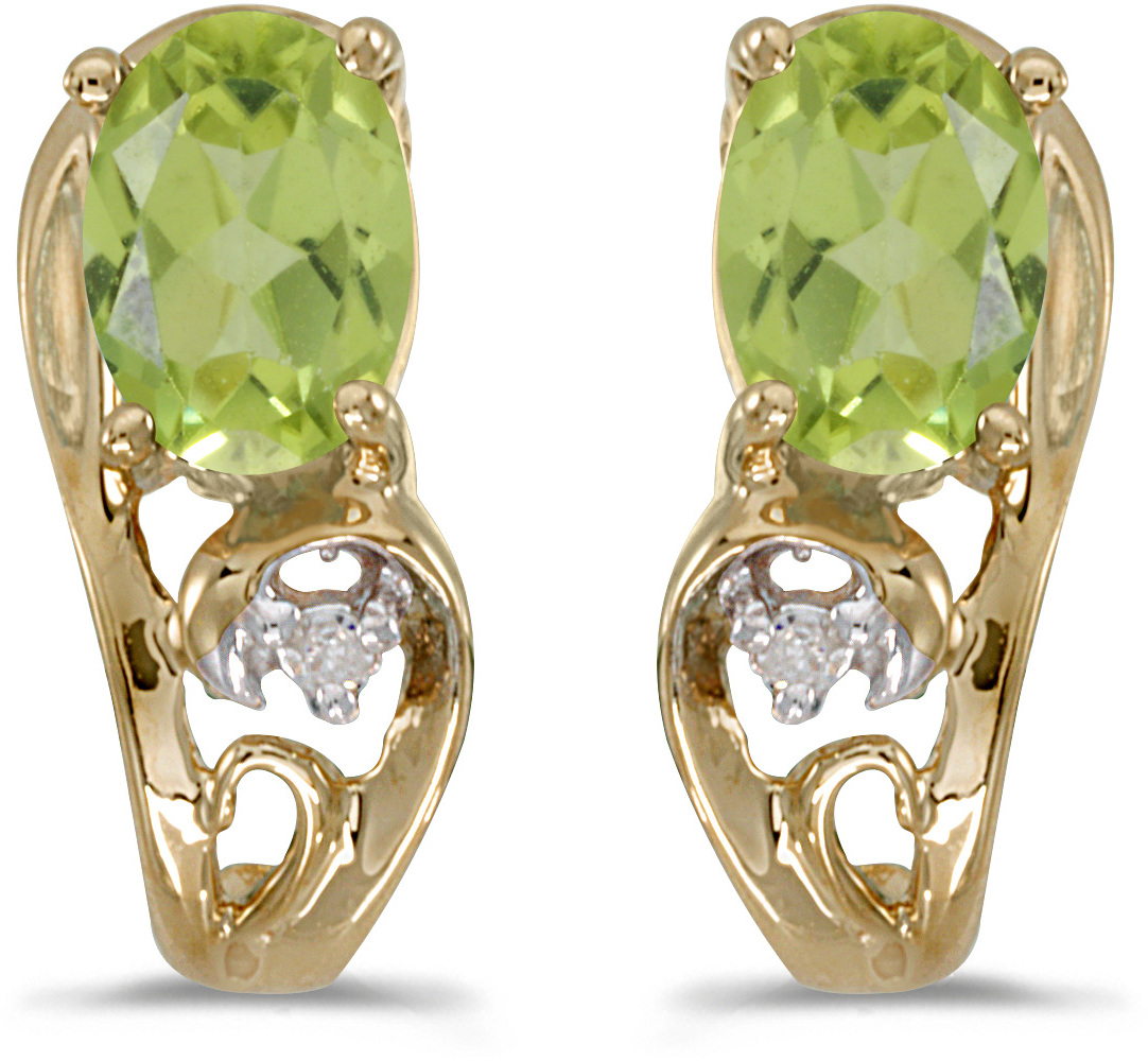 14k Yellow Gold Oval Peridot And Diamond Earrings (CM-E2590X-08)