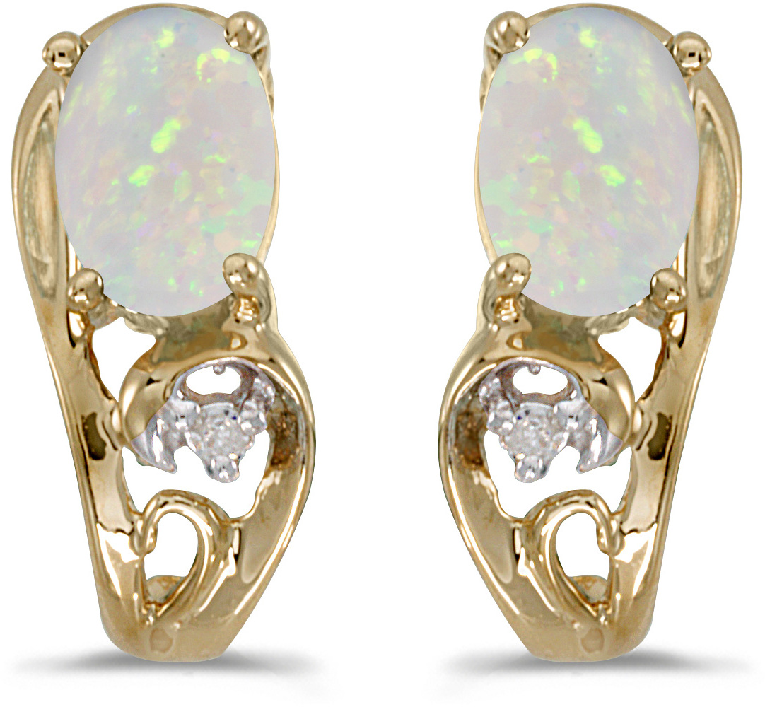 14k Yellow Gold Oval Opal And Diamond Earrings (CM-E2590X-10)