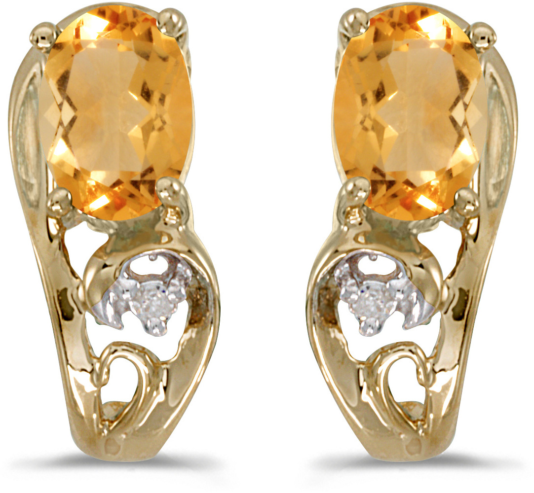14k Yellow Gold Oval Citrine And Diamond Earrings (CM-E2590X-11)