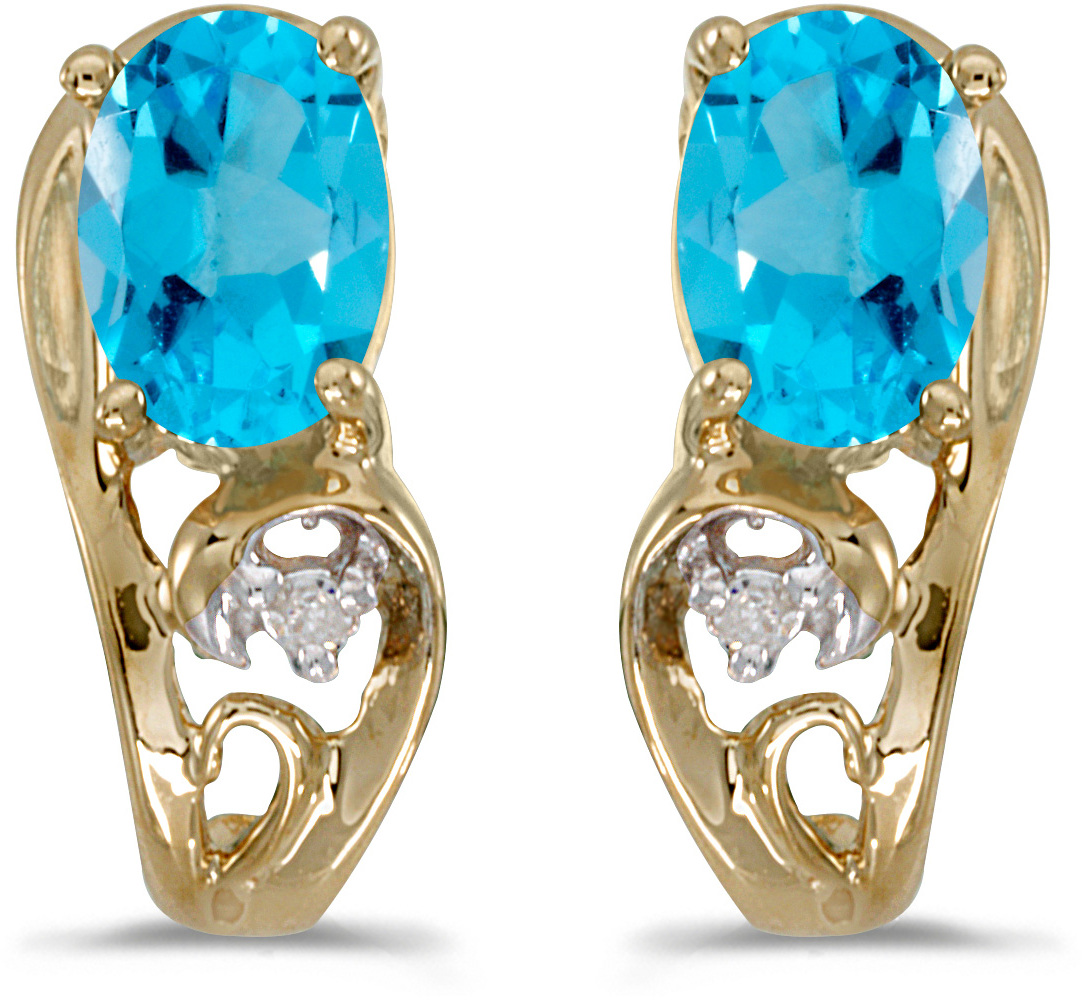 14k Yellow Gold Oval Blue Topaz And Diamond Earrings (CM-E2590X-12)