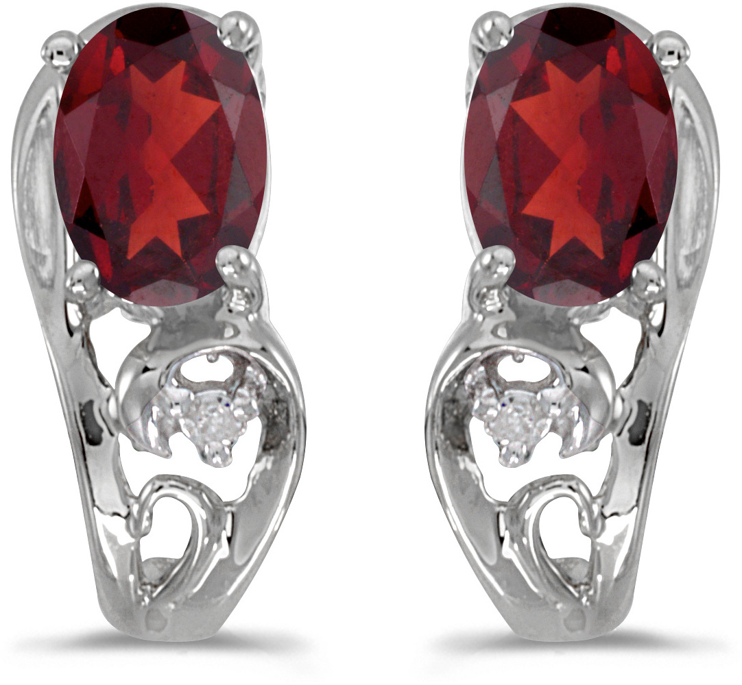 14k White Gold Oval Garnet And Diamond Earrings (CM-E2590XW-01)