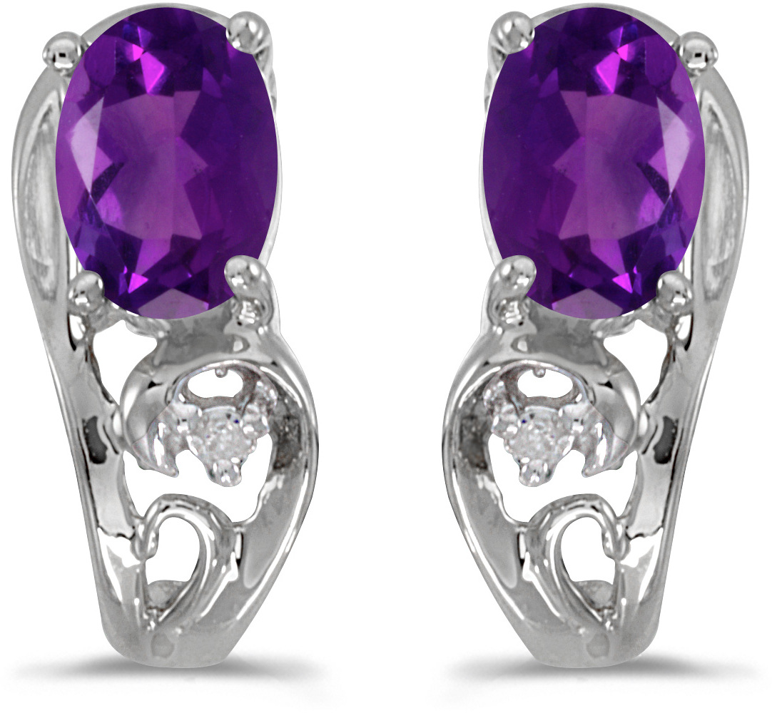 14k White Gold Oval Amethyst And Diamond Earrings (CM-E2590XW-02)