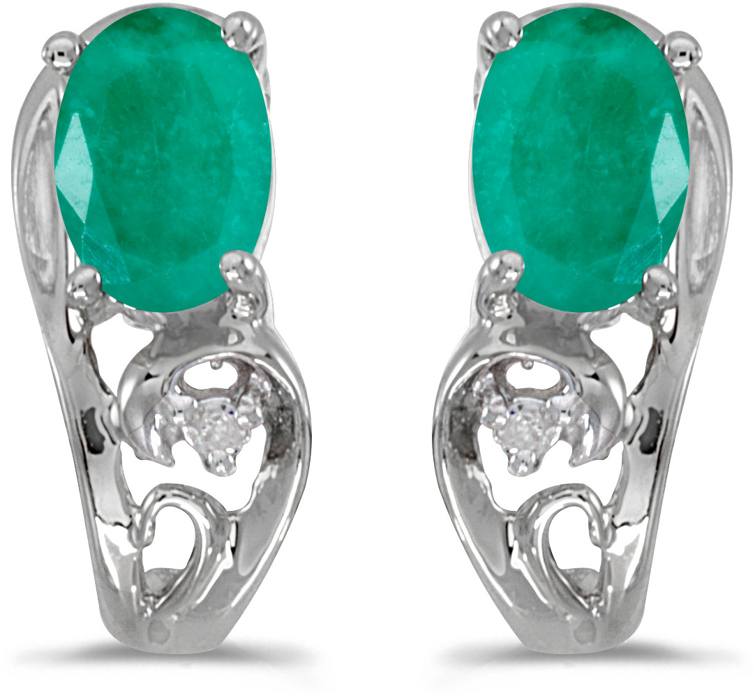 14k White Gold Oval Emerald And Diamond Earrings (CM-E2590XW-05)